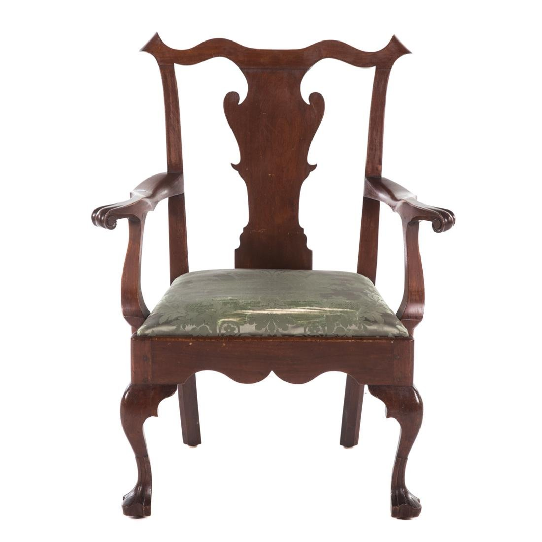 Queen Anne mahogany armchair