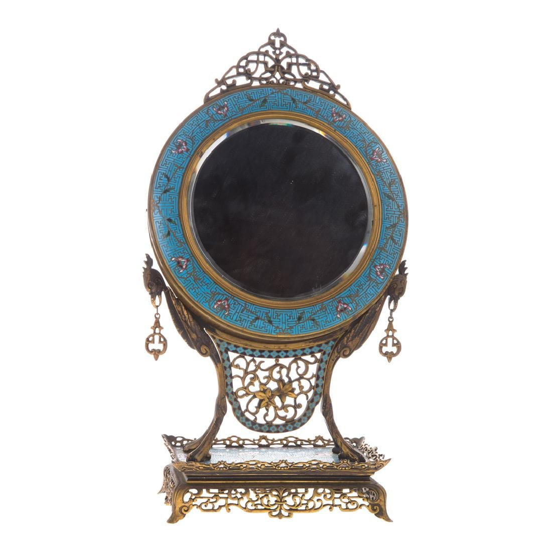 Chinese cloisonne and bronze table mirror