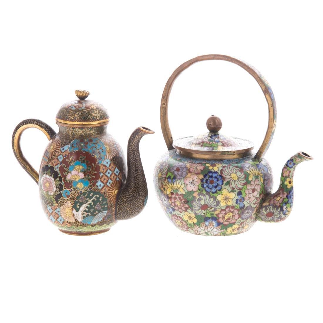 Two Asian cloisonne enamel teapots