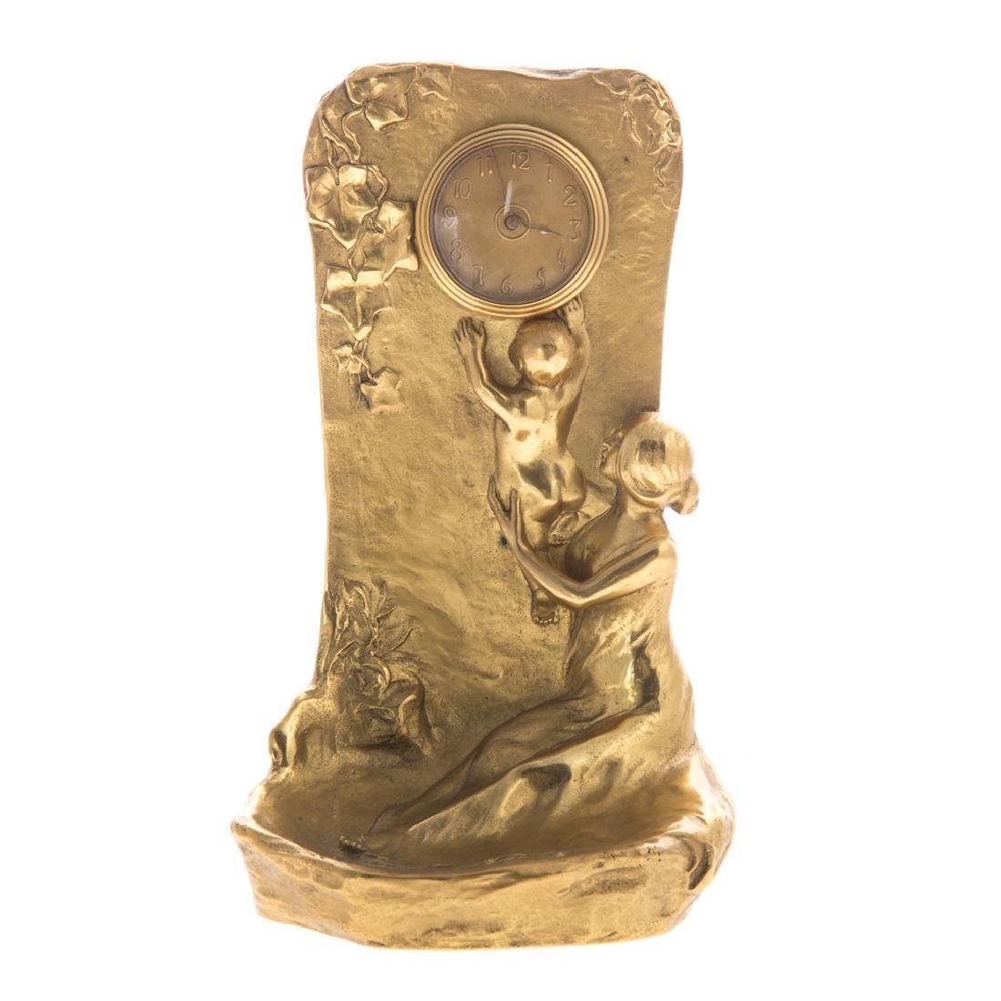 Maurice Bouval. Art Nouveau figural vanity clock