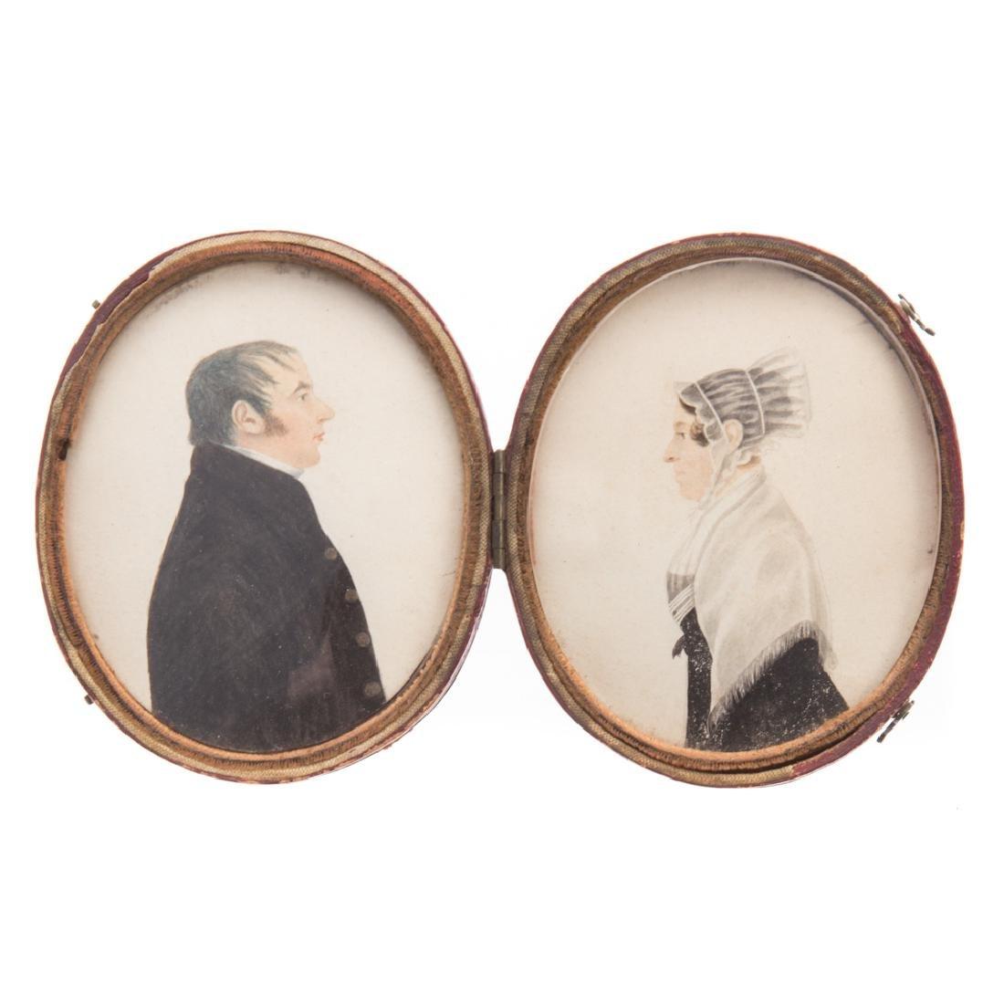 Pair watercolor portrait miniatures of couple