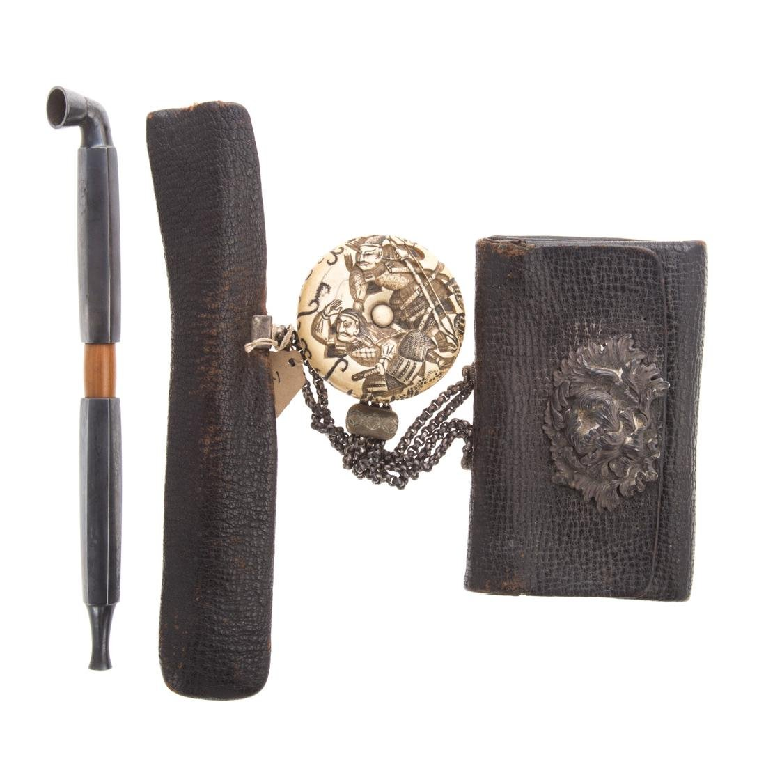 Japanese leather/silver tobacco pouch & pipe