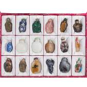 18 Chinese snuff bottles in fitted case
