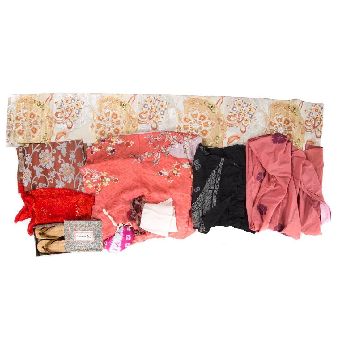 Japanese silk kimono, sashes, and accessories