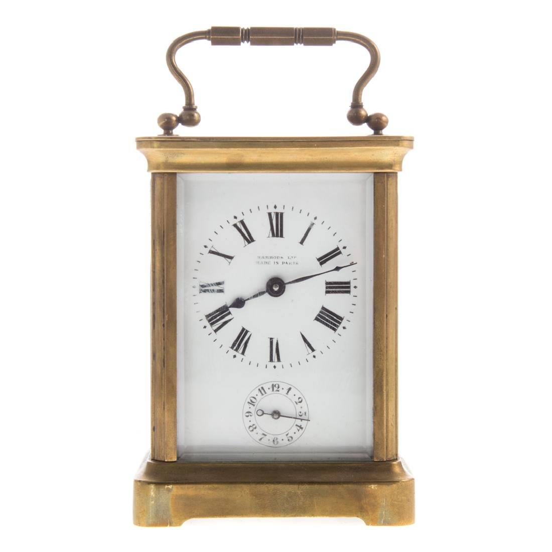 French brass carriage clock with case