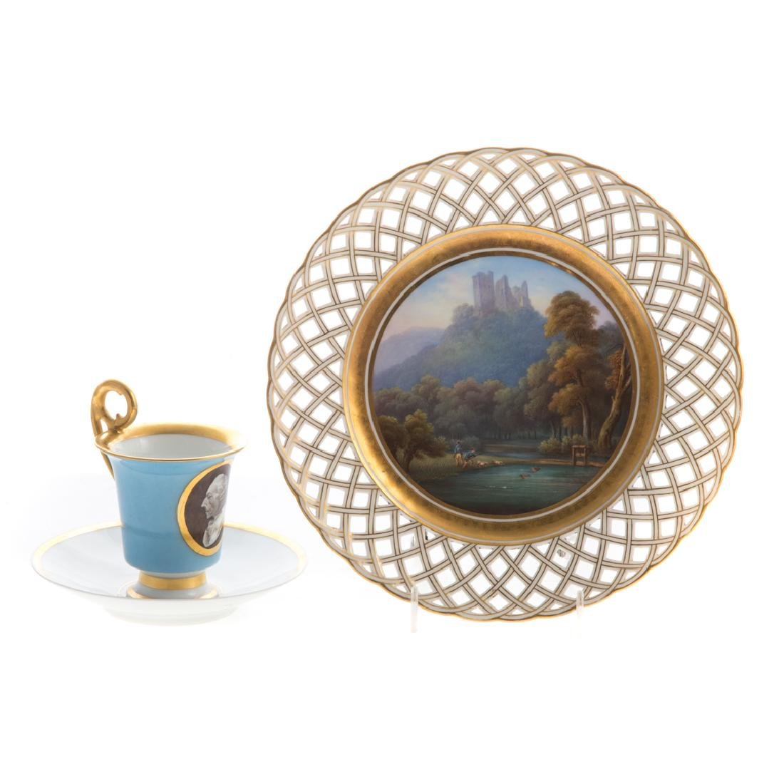 English reticulated plate and French cup & saucer