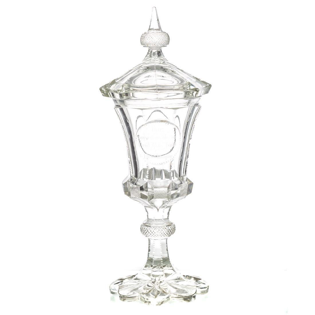 Bohemian cut clear glass pokal