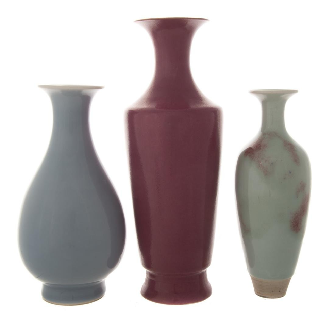 Three Chinese monochrome porcelain vases