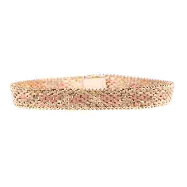 A Lady's Woven Bracelet in 14K Rose & Yellow Gold