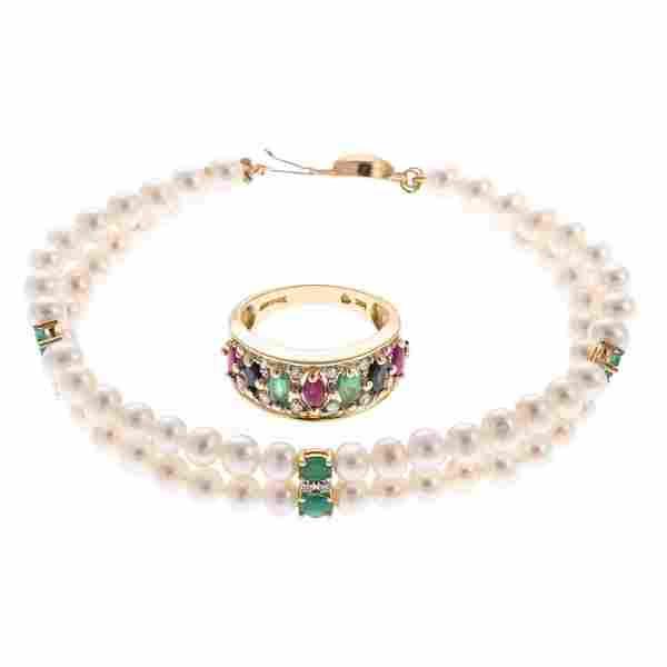 A Lady's Pearl Bracelet & Gemstone Ring in 14K