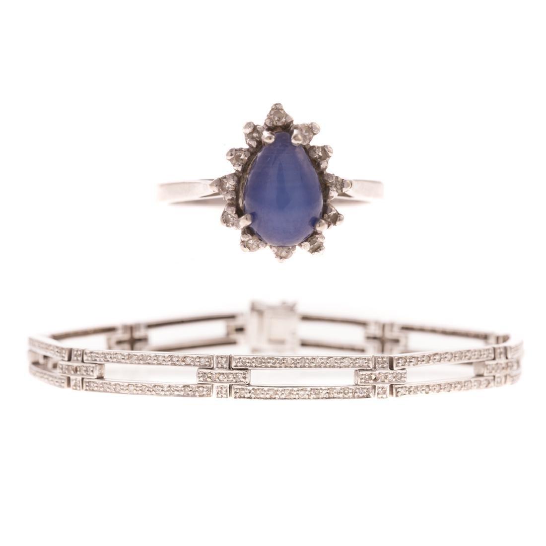 A Lady's White Gold Diamond Bracelet & Ring