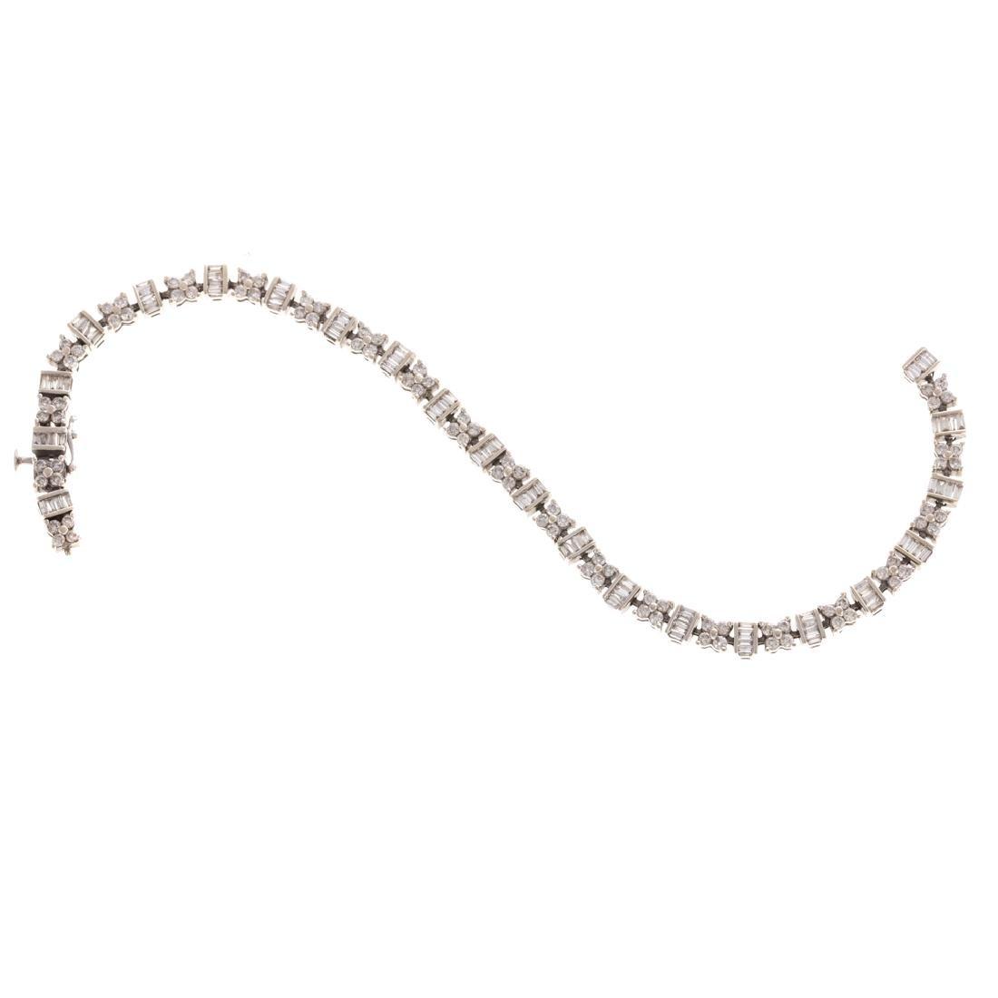 A Lady's Classic 14K Diamond Line Bracelet