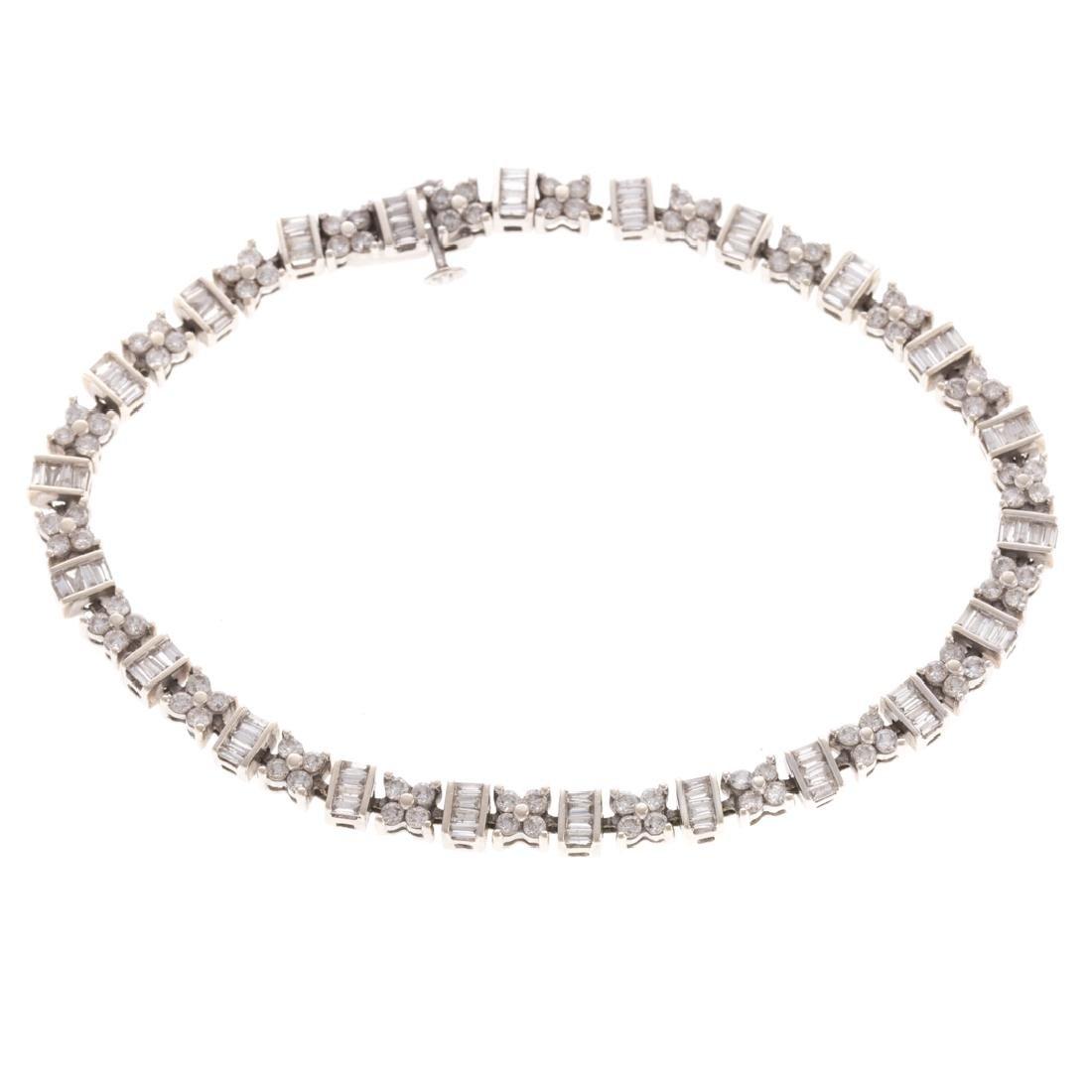 A Lady's Classic 14K Diamond Line Bracelet - 4