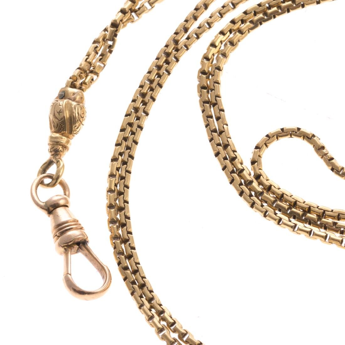 A Long Chain Link Necklace in 14K Yellow Gold - 2