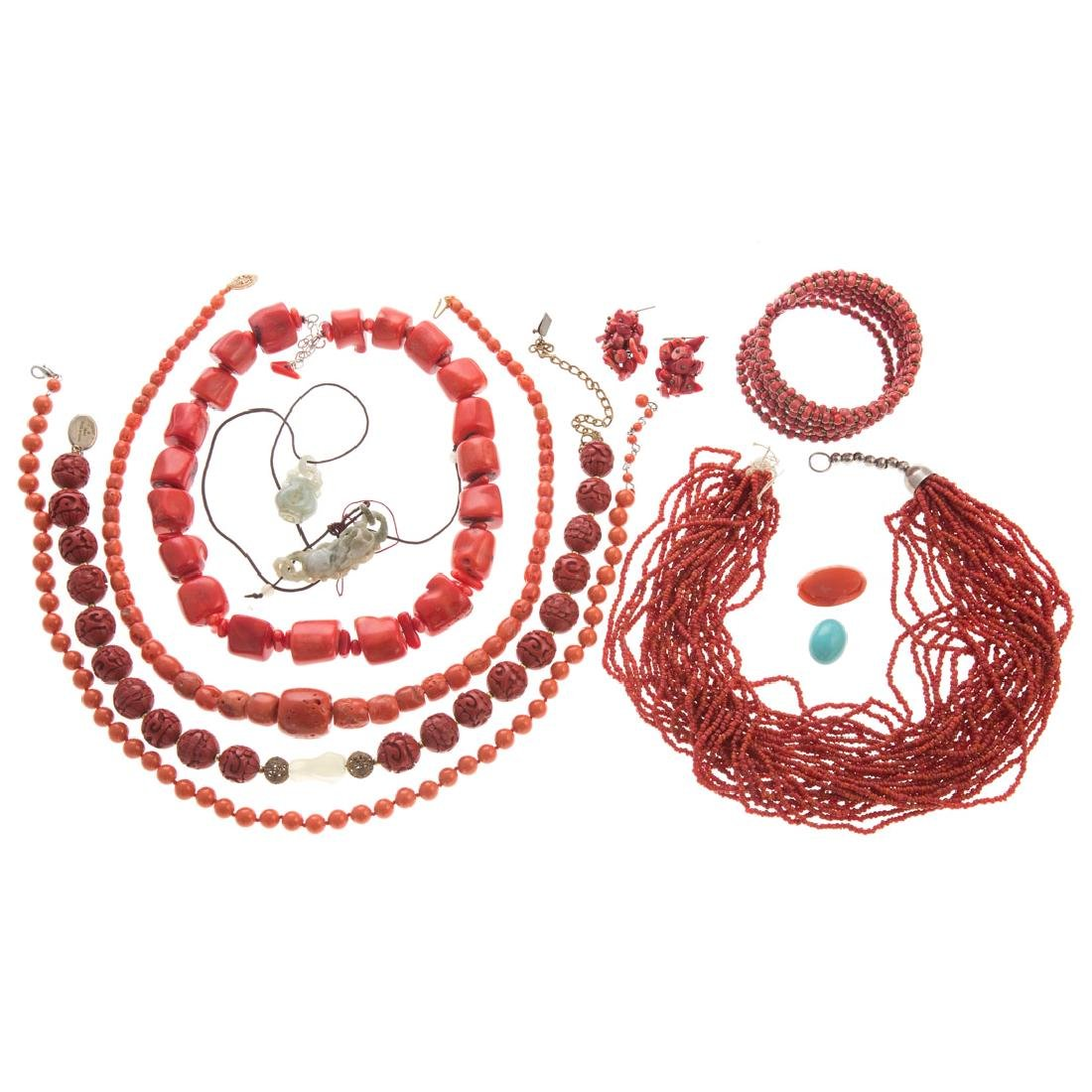 A Collection of Lady's Coral Jewelry