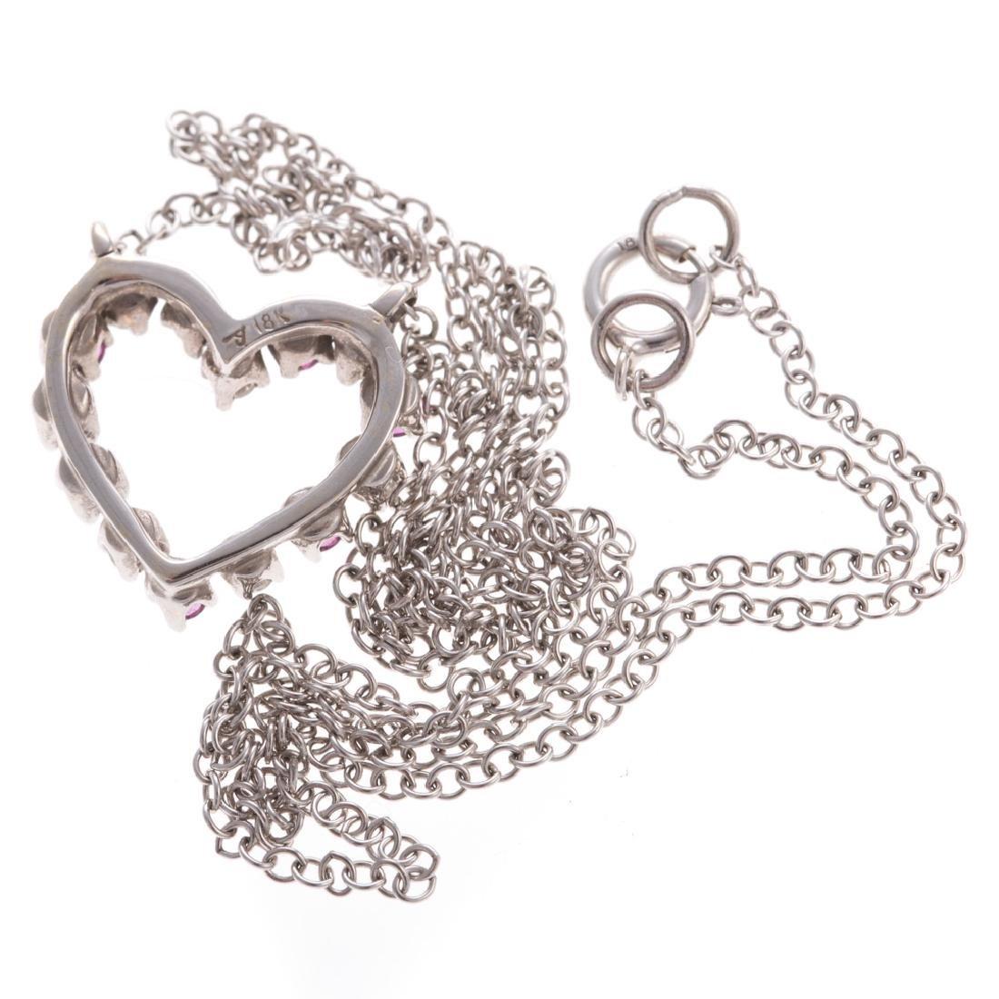 A Lady's Ruby & Diamond Heart Necklace in 18K - 3