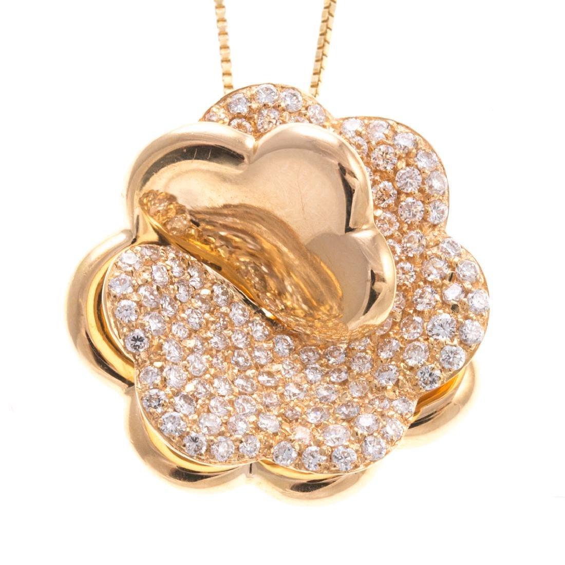 A Giorgio Visconti Diamond Flower Necklace in 18K - 2