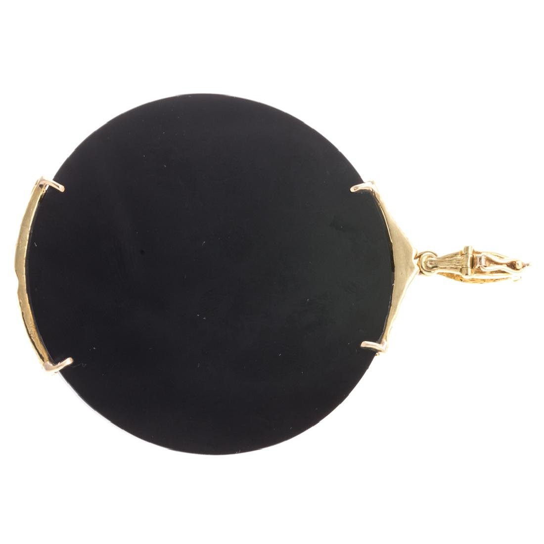A Lady's 18K Black Onyx & Diamond Enhancer - 4