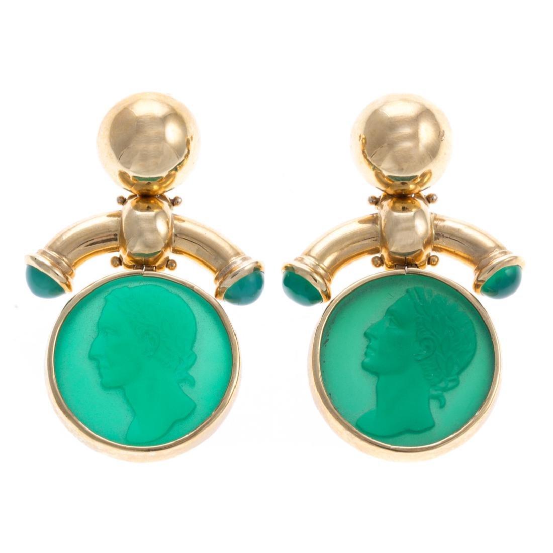 A Pair of 18K Green Intaglio Earrings