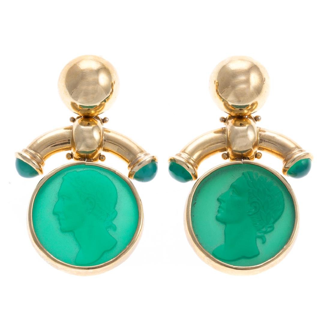 A Pair of 18K Green Intaglio Earrings
