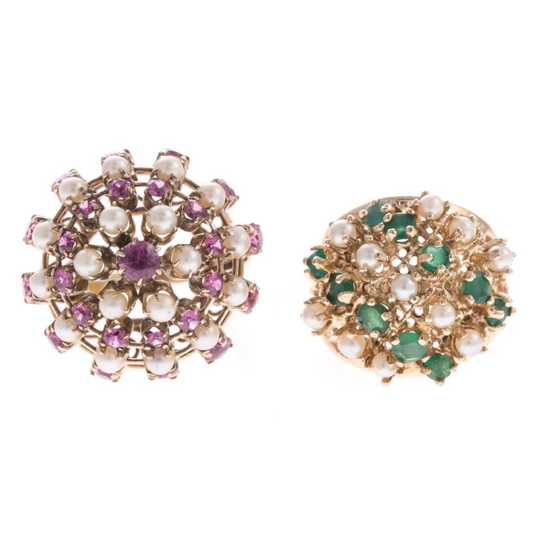 A Pair of Lady's Pearl & Gemstone Cluster Rings