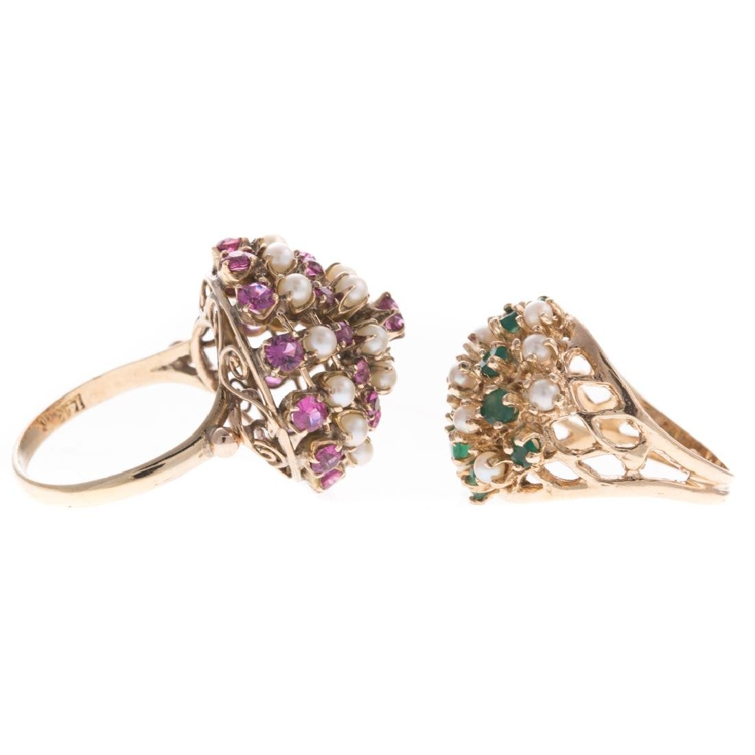 A Pair of Lady's Pearl & Gemstone Cluster Rings - 2
