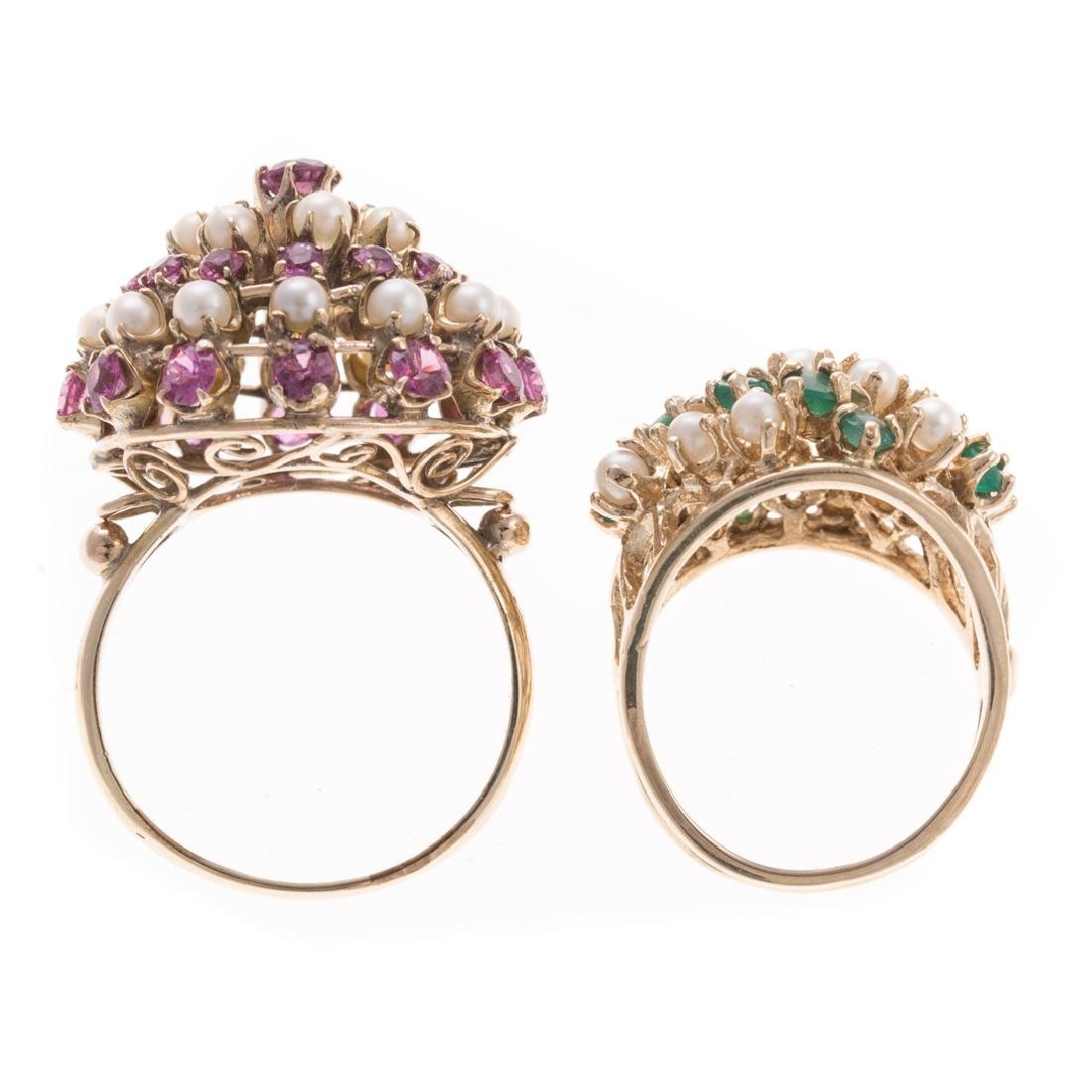 A Pair of Lady's Pearl & Gemstone Cluster Rings - 5