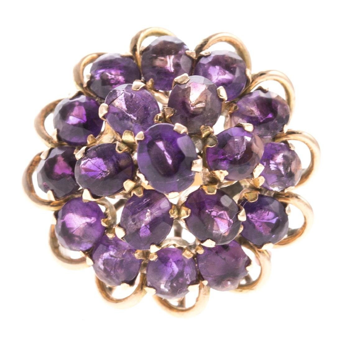 A Lady's Amethyst Ring & Earrings - 2