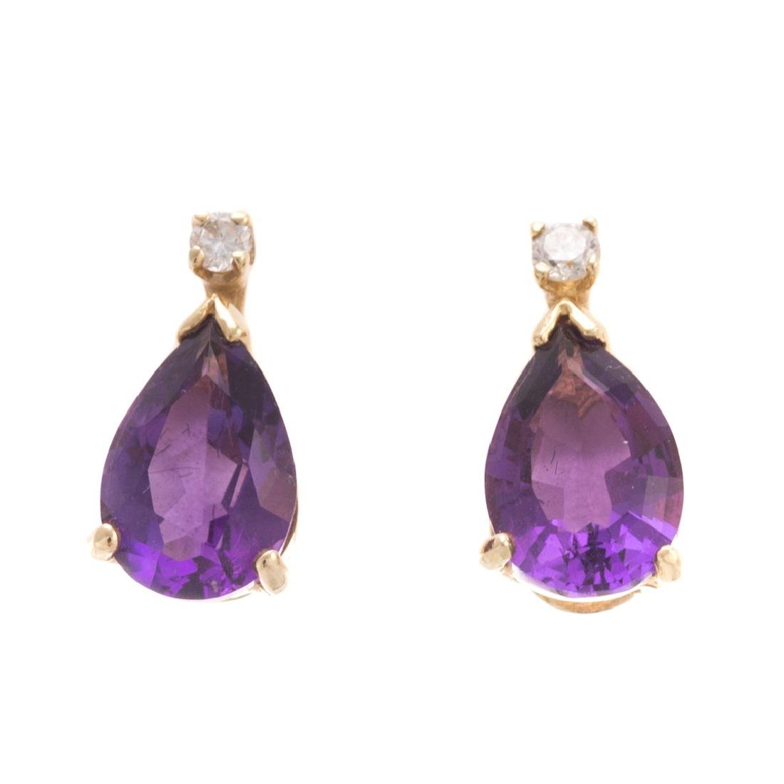 A Lady's Amethyst Ring & Earrings - 6