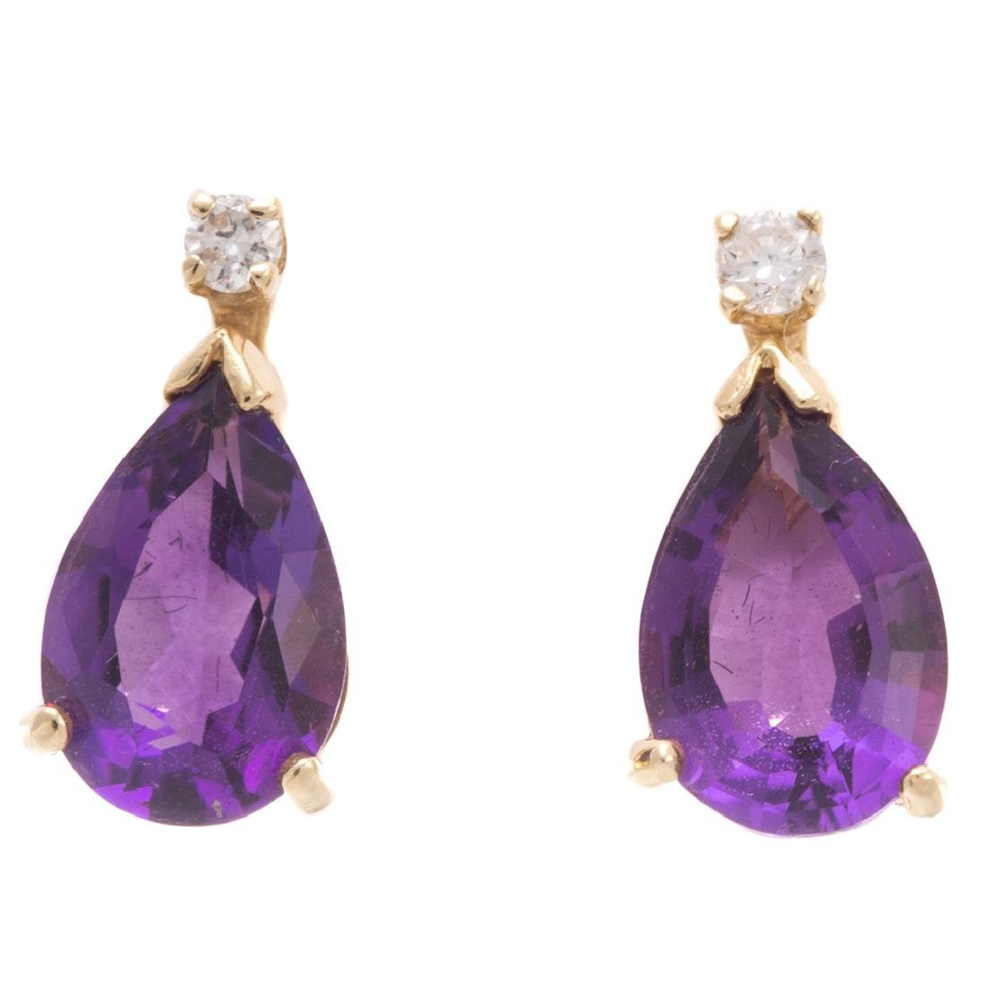 A Lady's Amethyst Ring & Earrings - 7