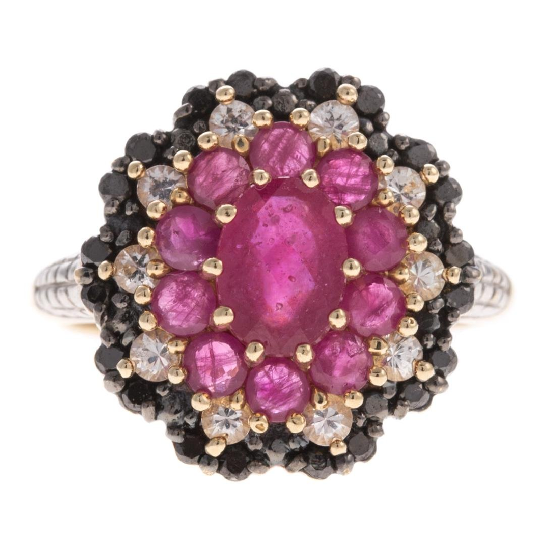 A Lady's Diamond & Ruby Ring in 10K