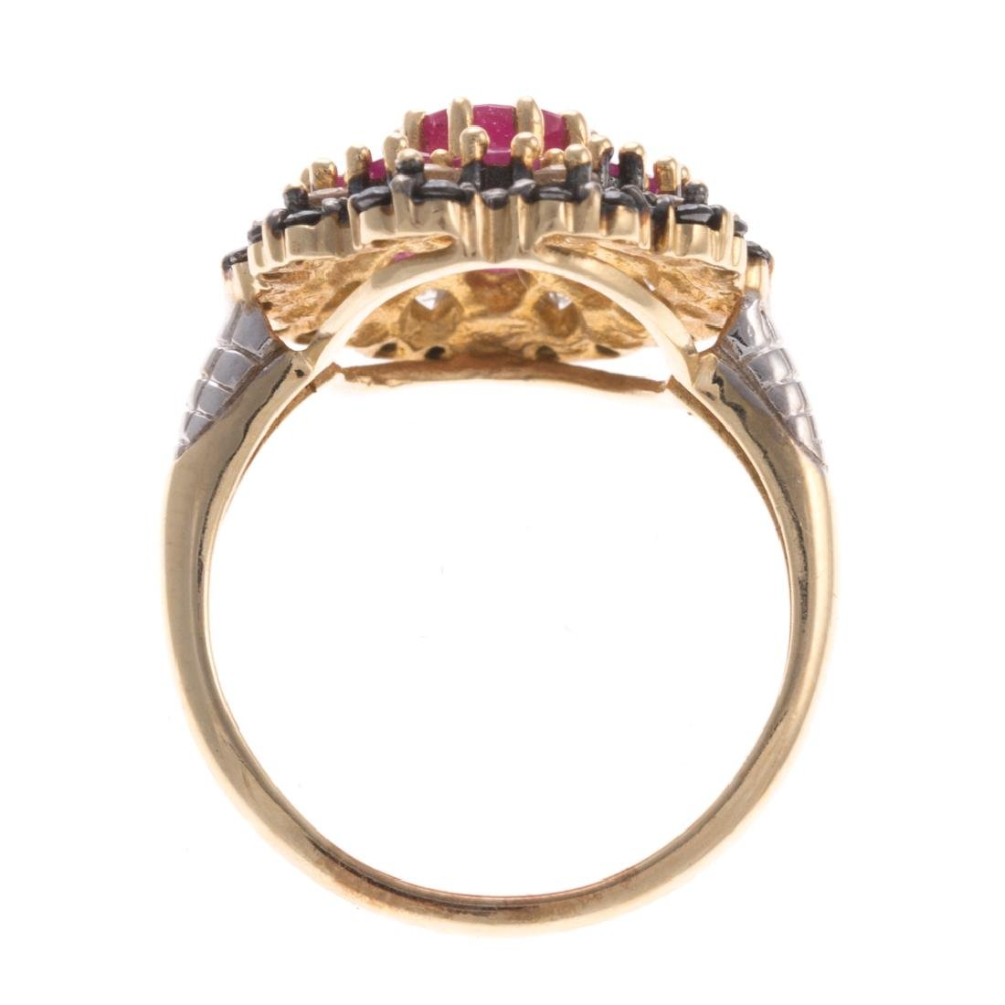 A Lady's Diamond & Ruby Ring in 10K - 3