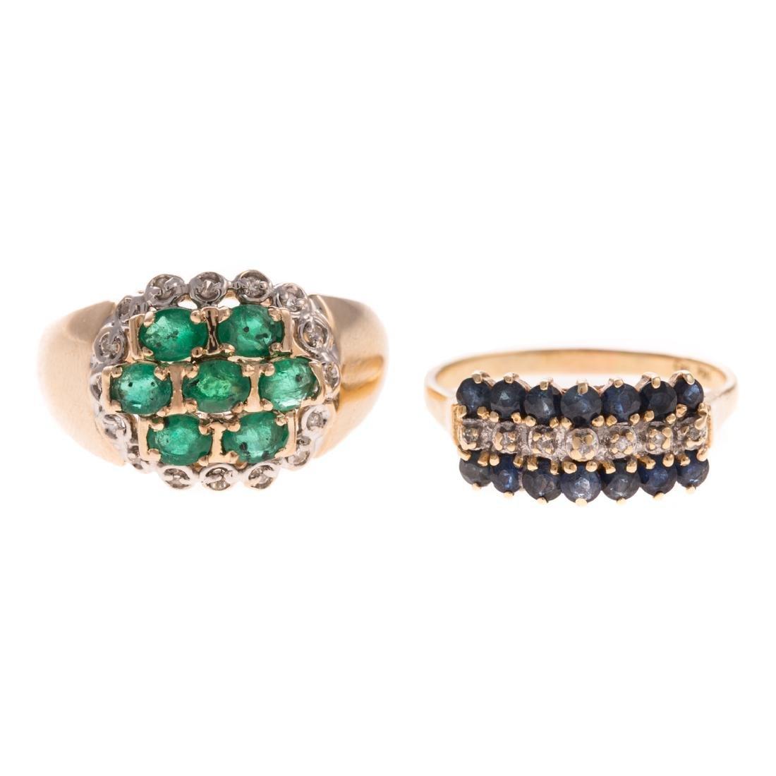 A Pair of 14K Gemstone & Diamond Cluster Rings