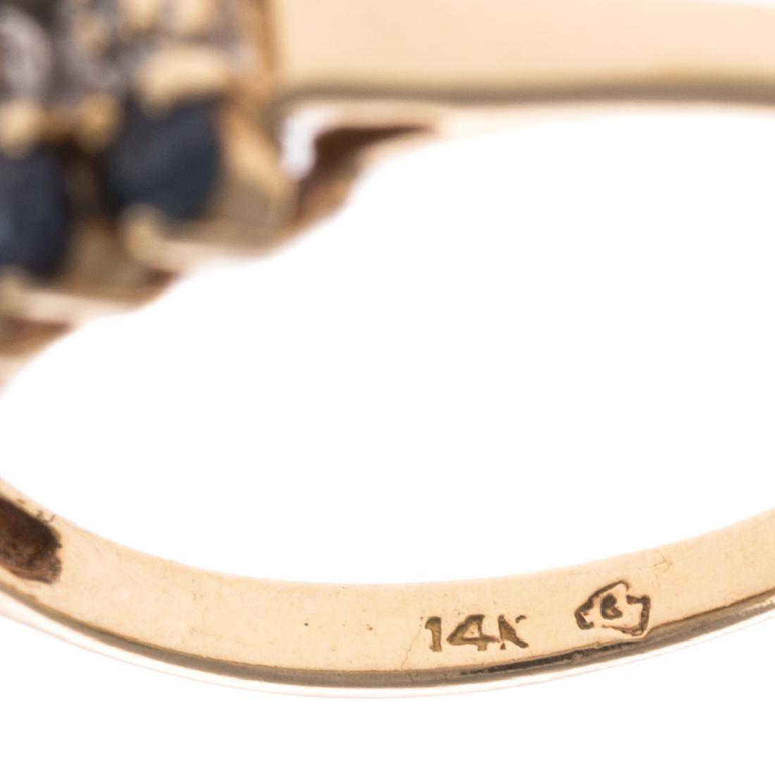 A Pair of 14K Gemstone & Diamond Cluster Rings - 4