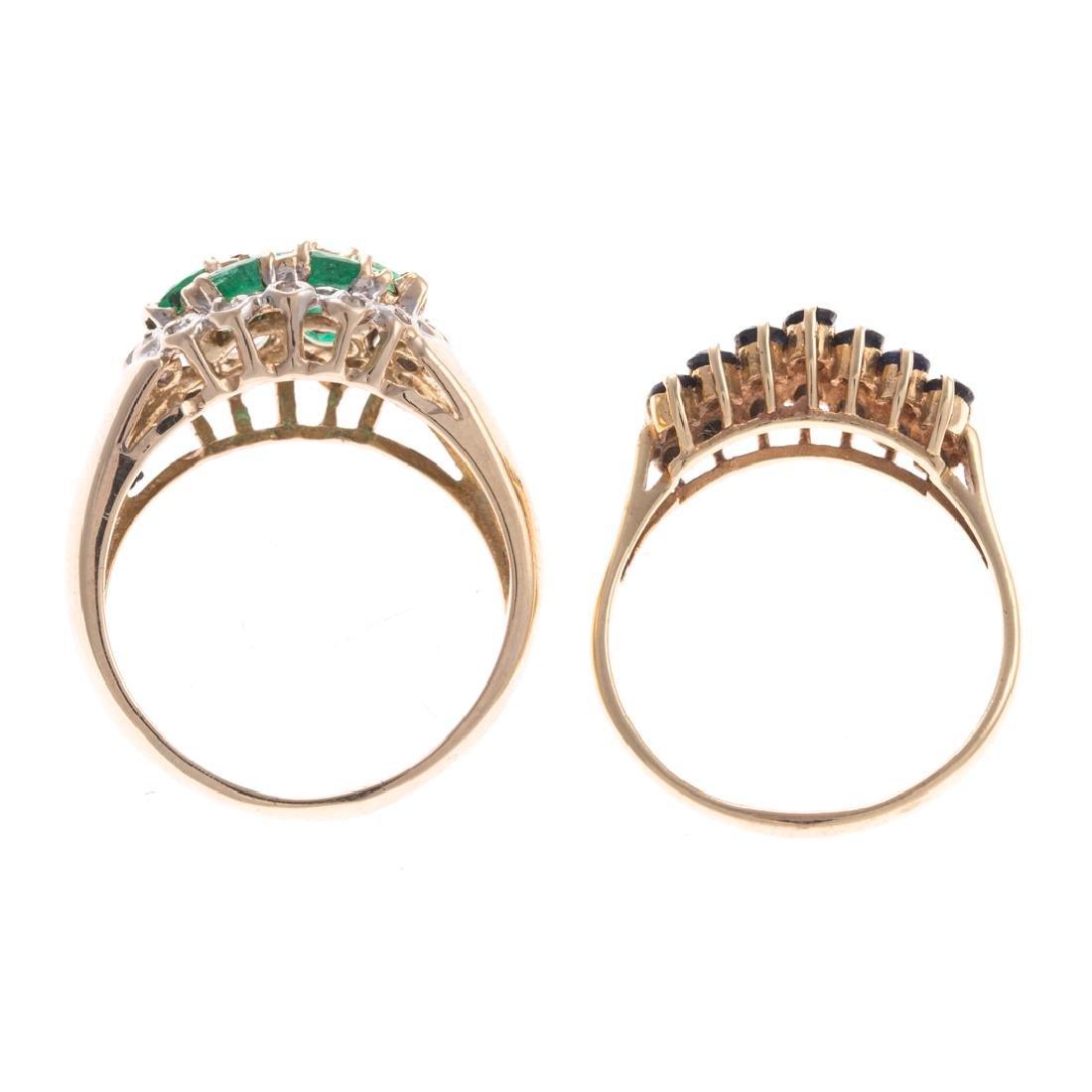 A Pair of 14K Gemstone & Diamond Cluster Rings - 5