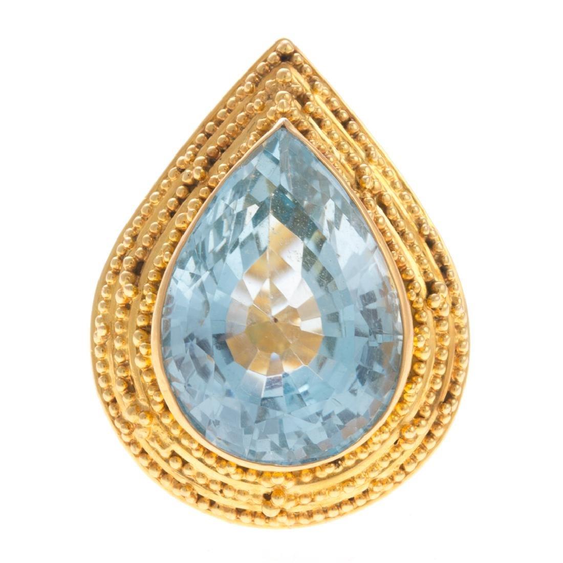 A Lady's Statement 22K Blue Topaz Ring