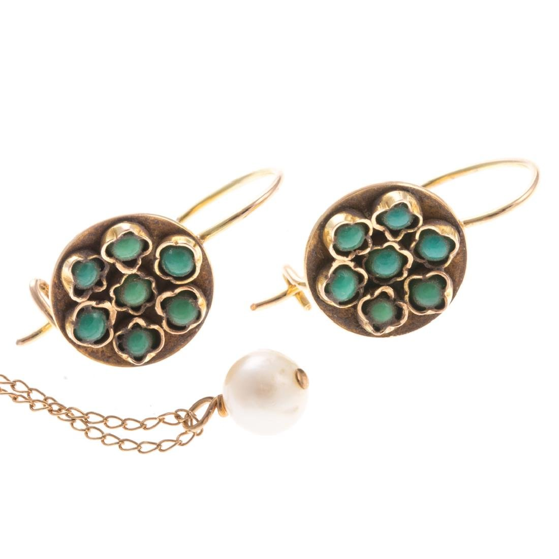 A Pair of Turquoise Earrings & Pearl Pendant