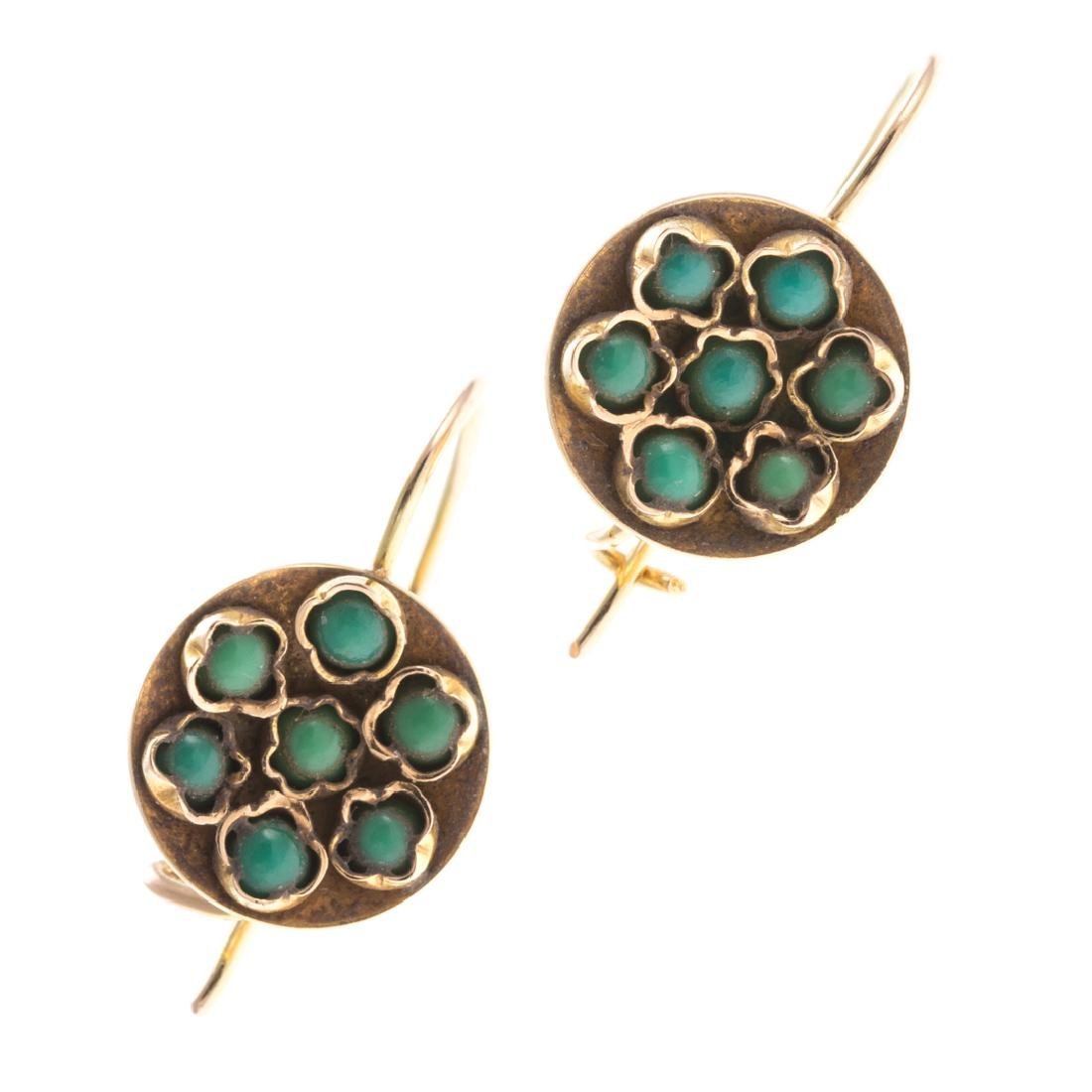 A Pair of Turquoise Earrings & Pearl Pendant - 3