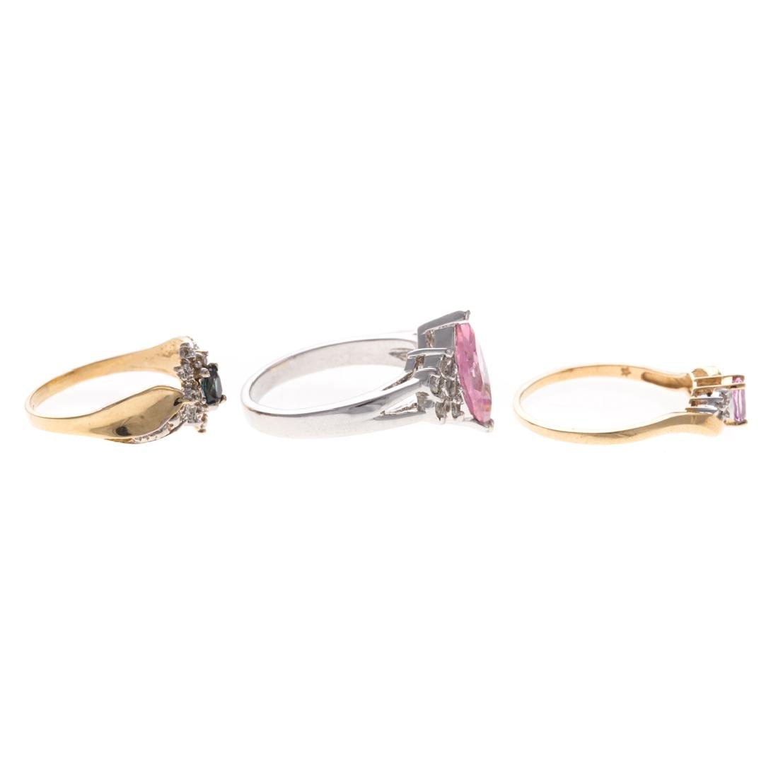 A Trio of Lady's Gem Stone Rings in Gold - 2