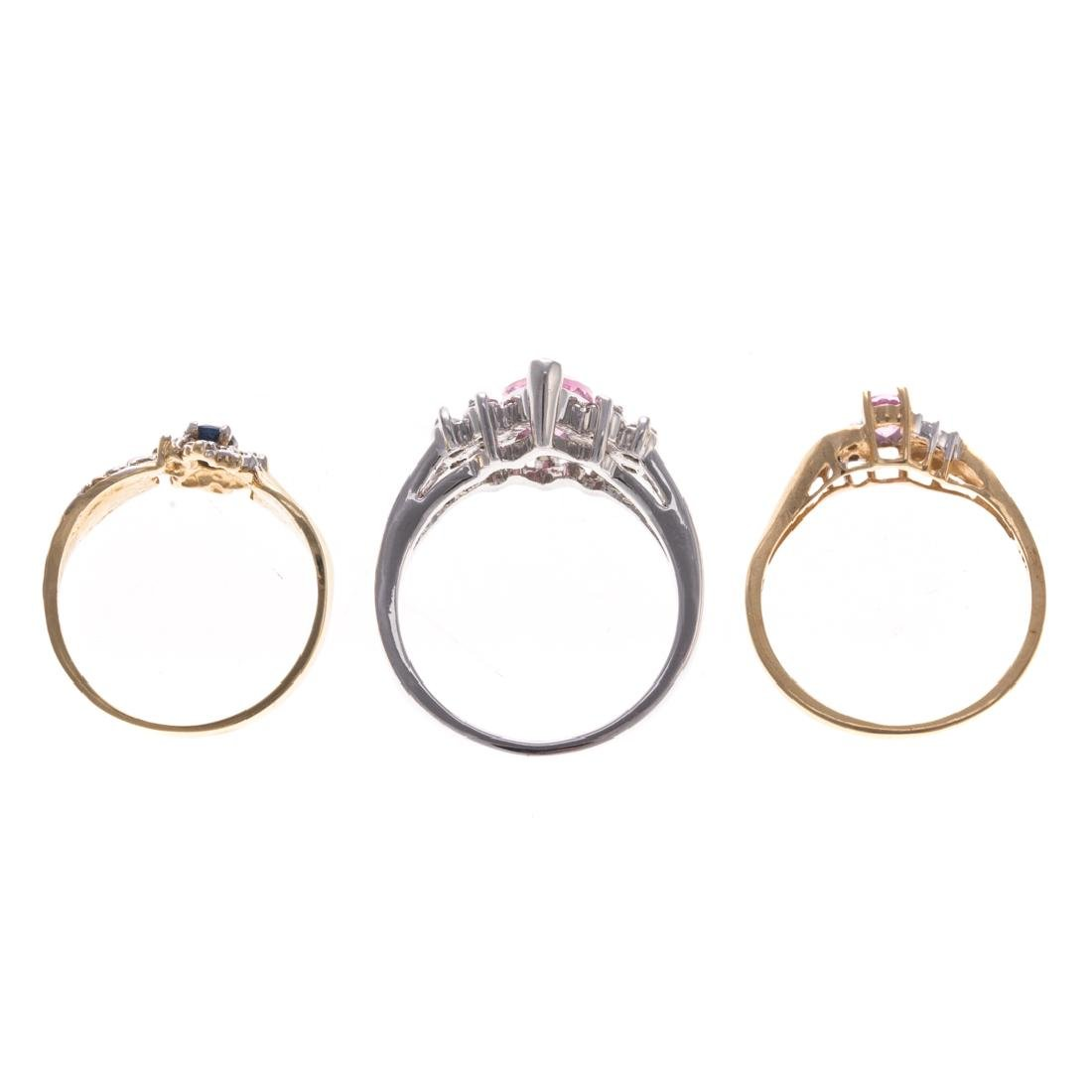 A Trio of Lady's Gem Stone Rings in Gold - 5