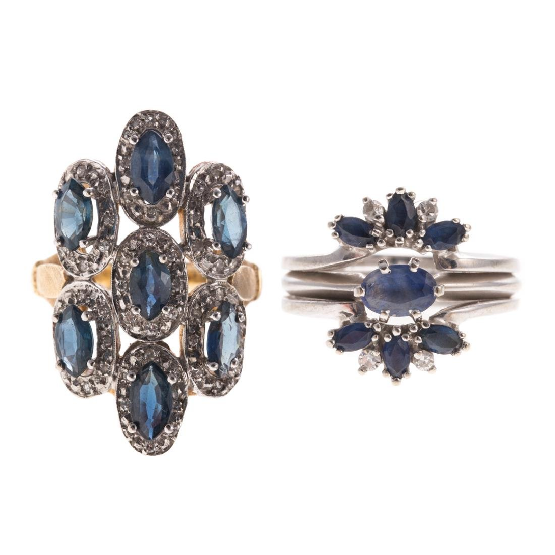 A Pair of Lady's Sapphire & Diamond Rings in 14K