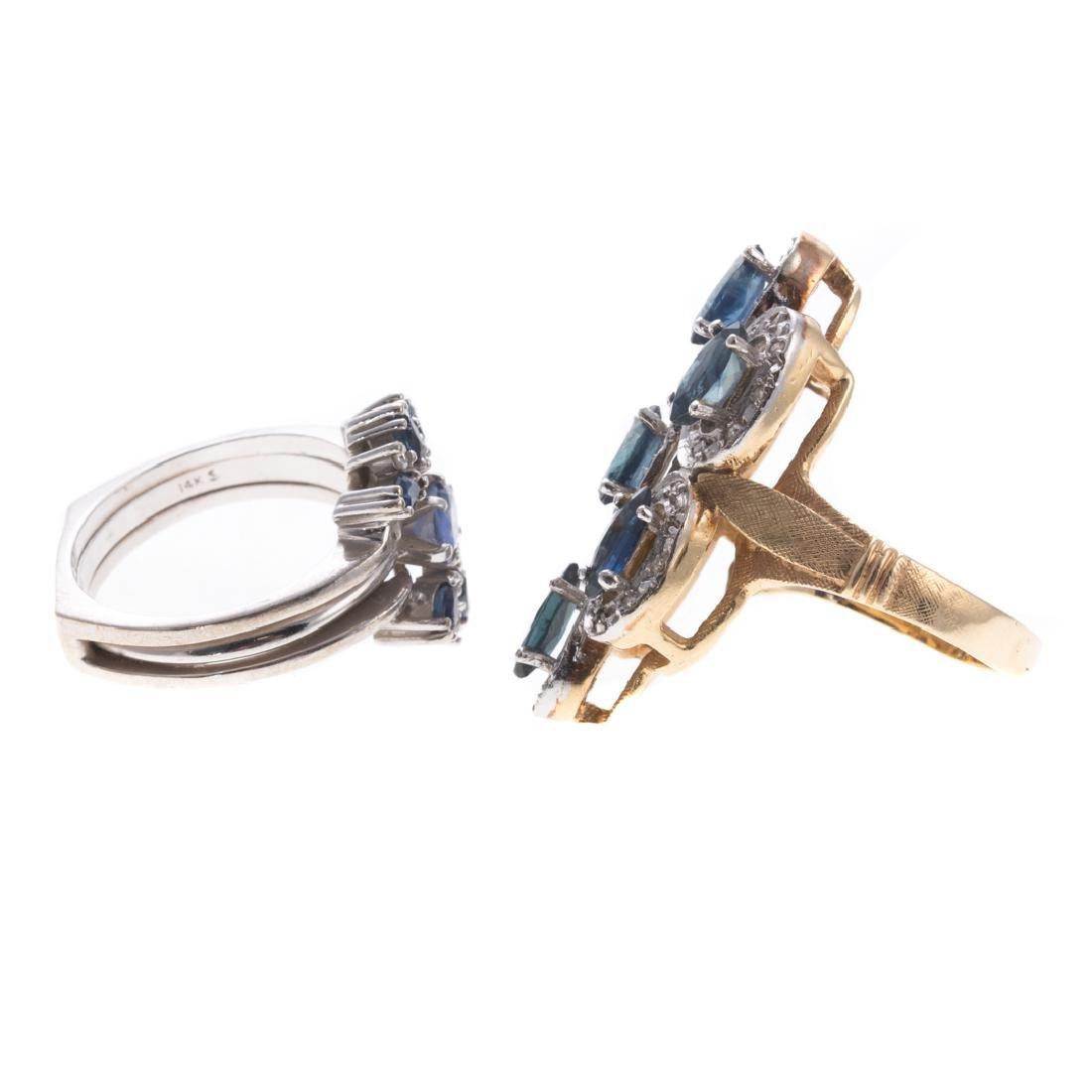 A Pair of Lady's Sapphire & Diamond Rings in 14K - 4