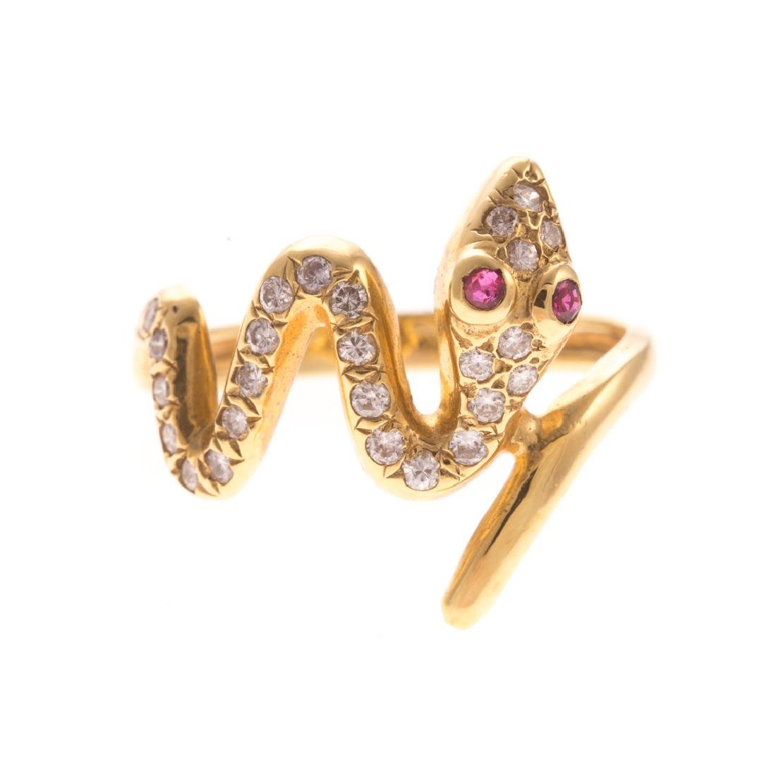 A Lady's Diamond Serpent Ring in 18K Gold