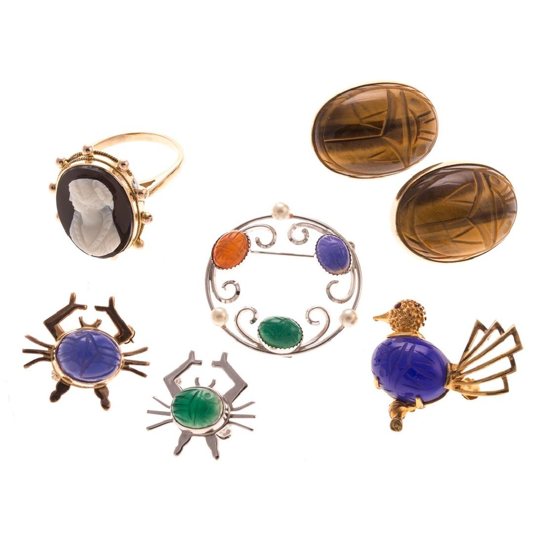 A Collection of Lady's Scarab & Cameo Jewelry
