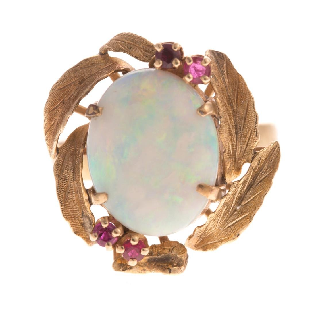 A Lady's 18K Opal & Ruby Cocktail Ring