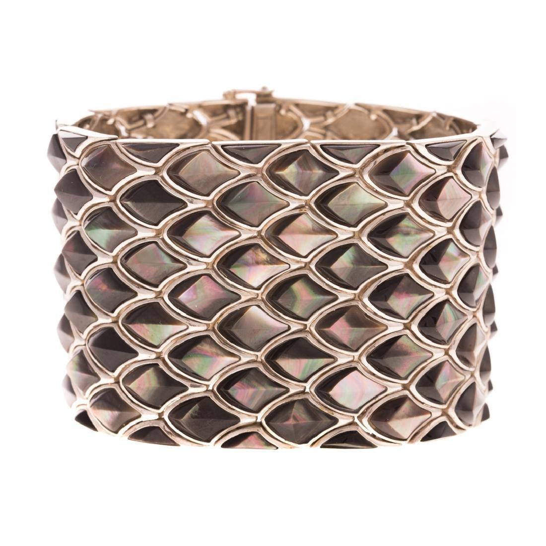 A Lady's Sterling Silver Abalone Bracelet