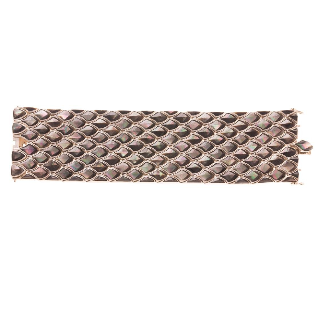 A Lady's Sterling Silver Abalone Bracelet - 2