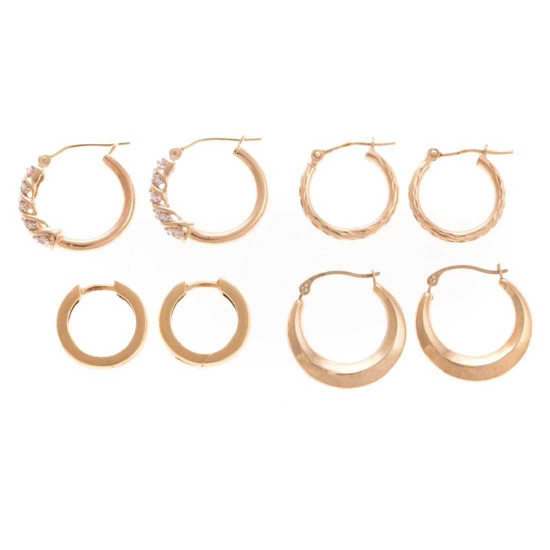 Four Pairs of Lady's Hoop Earrings in Gold