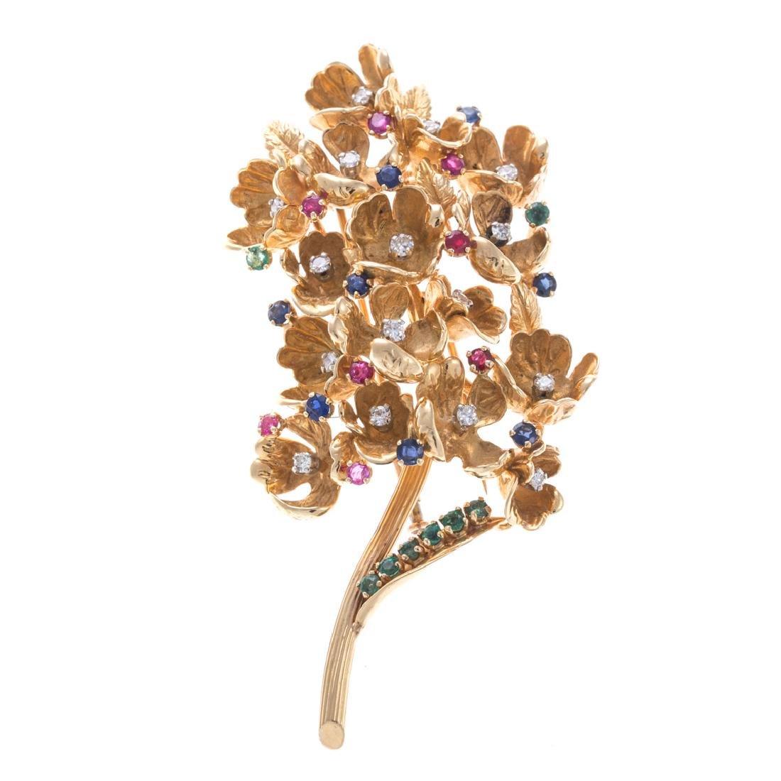 A Charming French Gemstone & Diamond Brooch in 18K