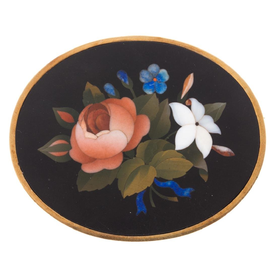 A Lady's Pietra Dura Victorian Floral Pin/Pendant